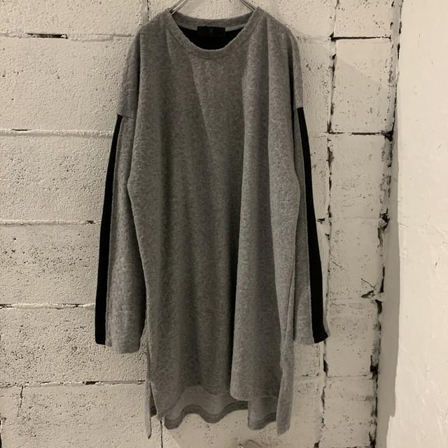 Slit-T-shirts L (grey/black)