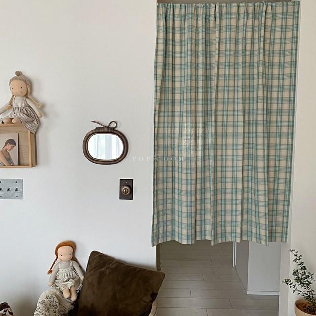 グリーンチェックカーテン(118×135) R1603