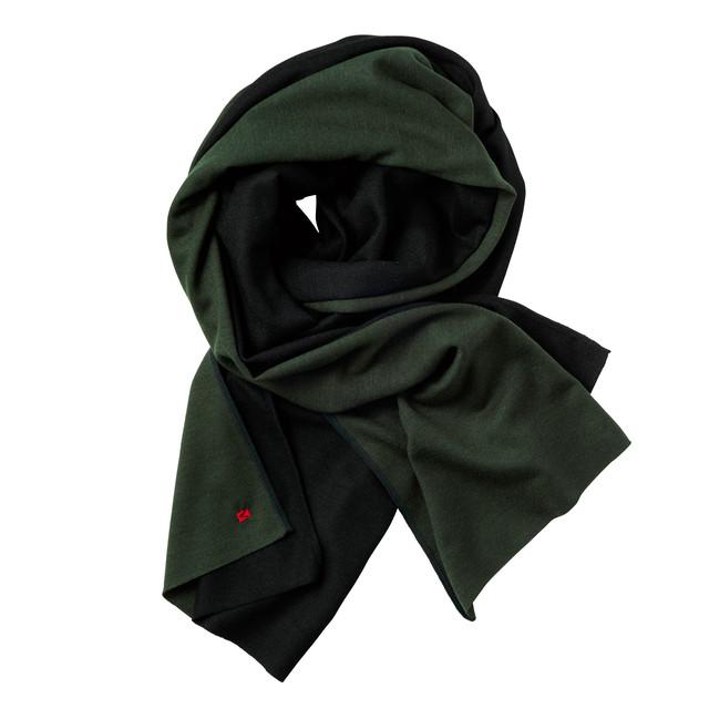 【コンビマフラー・ストール】326 フォレストグリーン × ブラック/ウール100%/ロングタイプ