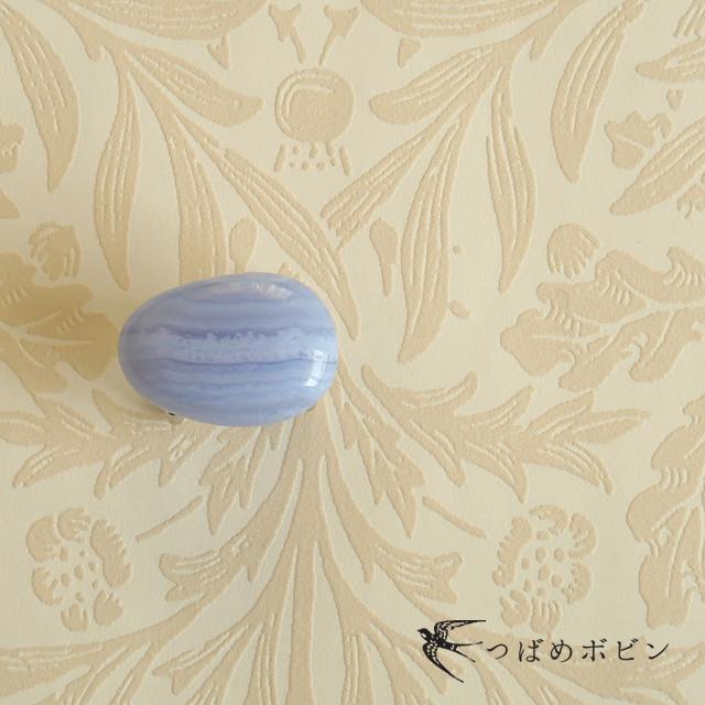 天然石の帯留 ◎ブルーレースアゲート(空色縞瑪瑙)/C
