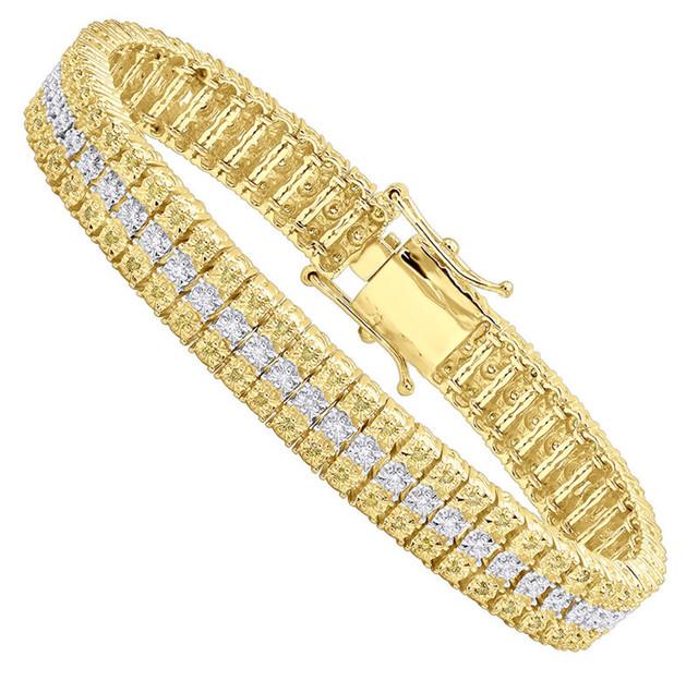 10K GOLD THREE ROW DIAMOND BRACELET FOR MEN WHITE & YELLOW DIAMONDS 1CT