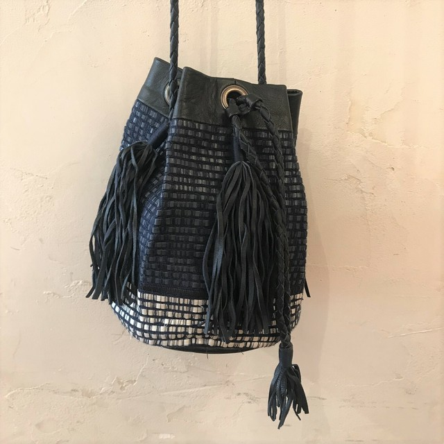 "Atelier Nihal / BUCKET BAG ""Navy mix"""