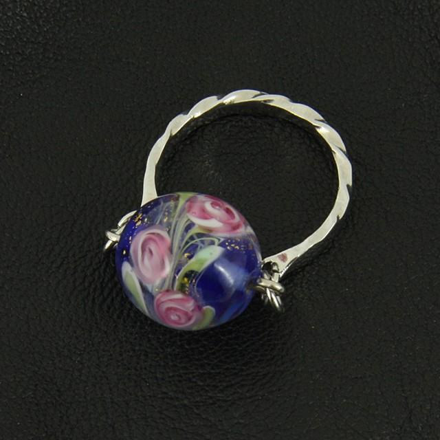 レトロなトンボ玉の指輪薔薇シリーズno.79