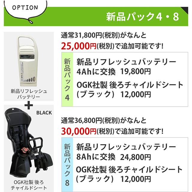 【オプション】新品パック4(新品リフレッシュバッテリー4AH&新品後ろチャイルドシート)