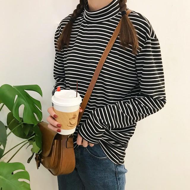 【tops】長袖Tシャツファッション定番ストライプ柄プリントハーフネック