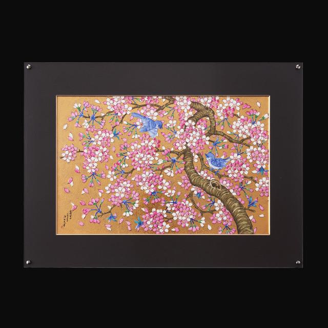 金彩桜花鳥図 陶額