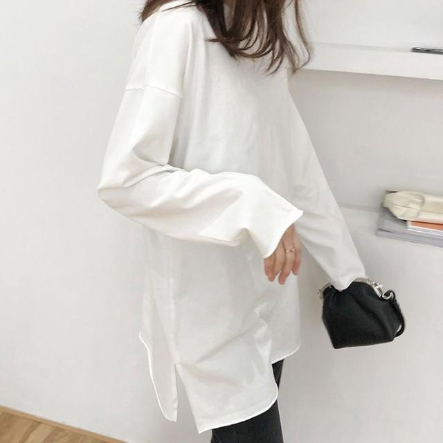 ◆即納◆綿100% 裾カットオフ加工 サイドスリット入り ロンt  長袖カットソー