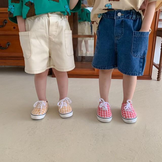 *6/18-20 新商品10%off【先行予約・一部即納】コットンデニムパンツ 2色 ユニセックス 夏 韓国子供服