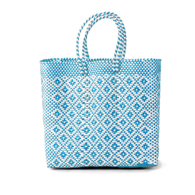 MERCADO BAG ROMBO - White x Light Blue(M)