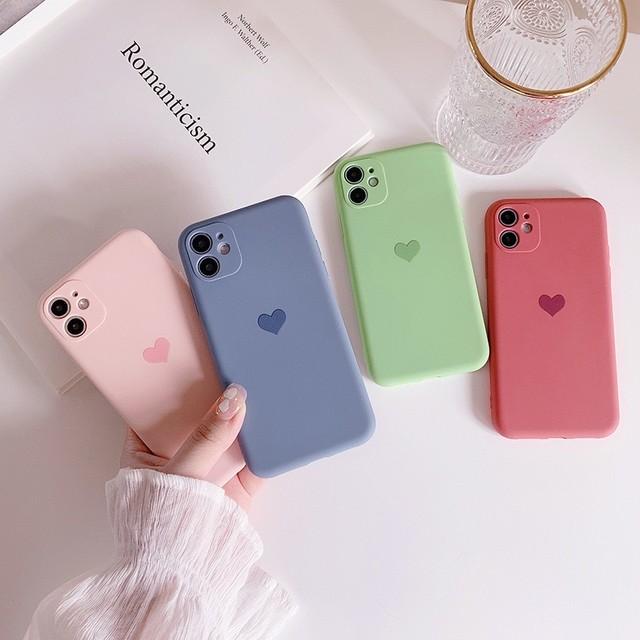 【iPhone12新機種対応】シンプルなハートワンカラー汚れにくいiPhoneケース *p00049