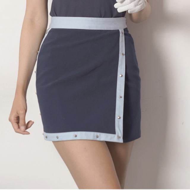 Stud skirt(Navy x skyblue)