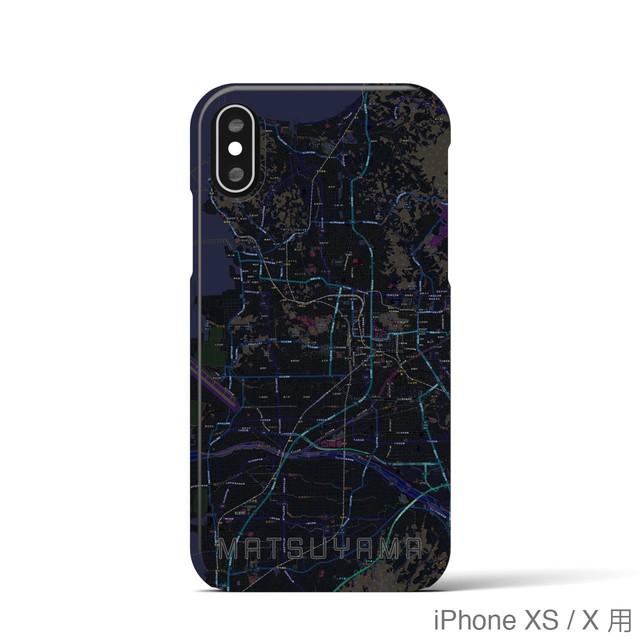 【松山】地図柄iPhoneケース(バックカバータイプ・ブラック)