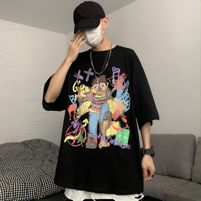 【トップス】キュートアニメ二次元プリント韓国系半袖ストリート系カジュアルTシャツ43710807