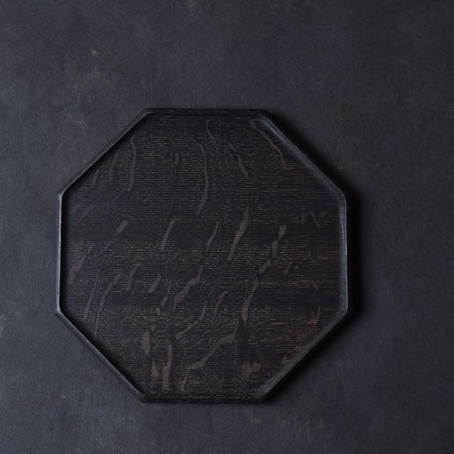 北山栄太 Eita Kitayama   楢オクトゴナルプレートM(ザクロ草木染+鉄媒染+ガラスコーティング)
