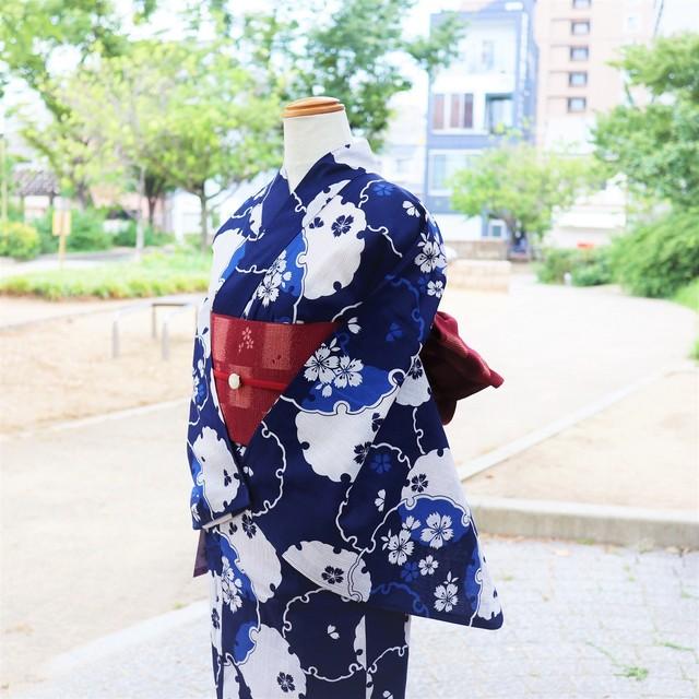 【浴衣 ゆかた すぐ着られる お仕立て上がり】綿麻  / 藍紺色 / 雪輪