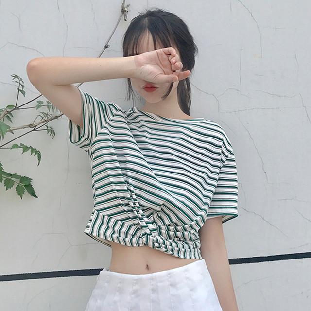 ねじれデザイン 半袖シャツ Tシャツ ショート ブラウス 3色 RPTOP062502