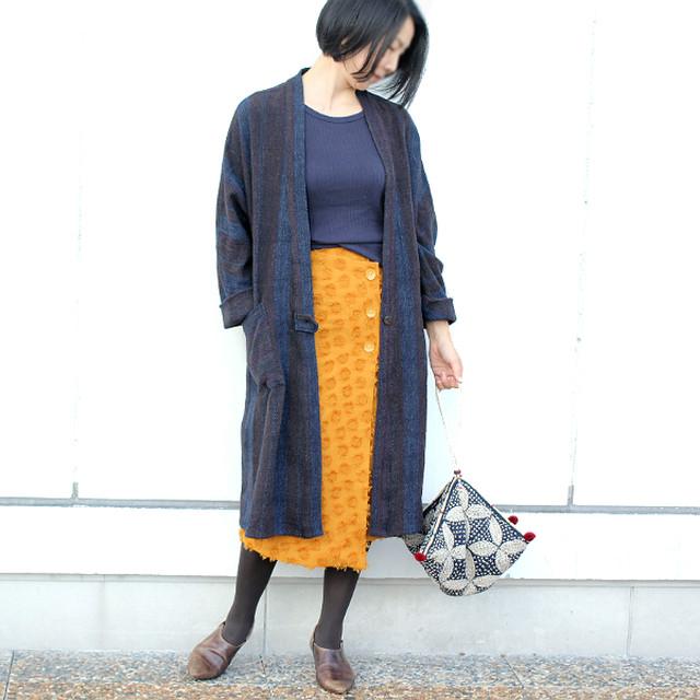 手織り綿のワンボタンドルマンコート【ダークブラウン】