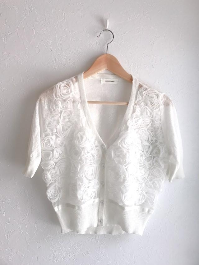 立体ローズの半袖エレガントボレロ ホワイト