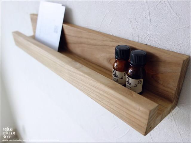チークウォールシェルフL44/NA 壁掛け本棚 収納棚 総無垢 シンプル 壁掛収納 ウォールラック ナチュラル 天然木 木製 手作り 和風 木製