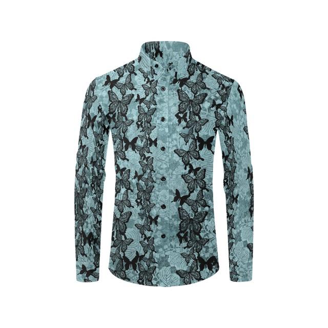 和柄バタフライラインブルー ユニセックスサイズ長袖シャツ