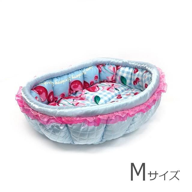 ふーじこちゃんママ手作り ぽんぽんベッド(サテンライトブルー・さくらんぼ柄)Mサイズ 【PB7-099M】