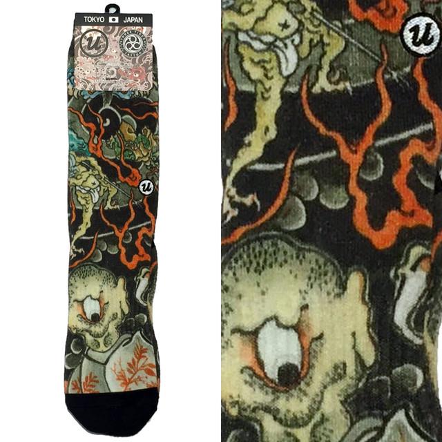 "THREE TIDES TATTOO x UBIQ ""IREZUMI"" SOCKS【Yokaizufu】 Designed by GANJI"