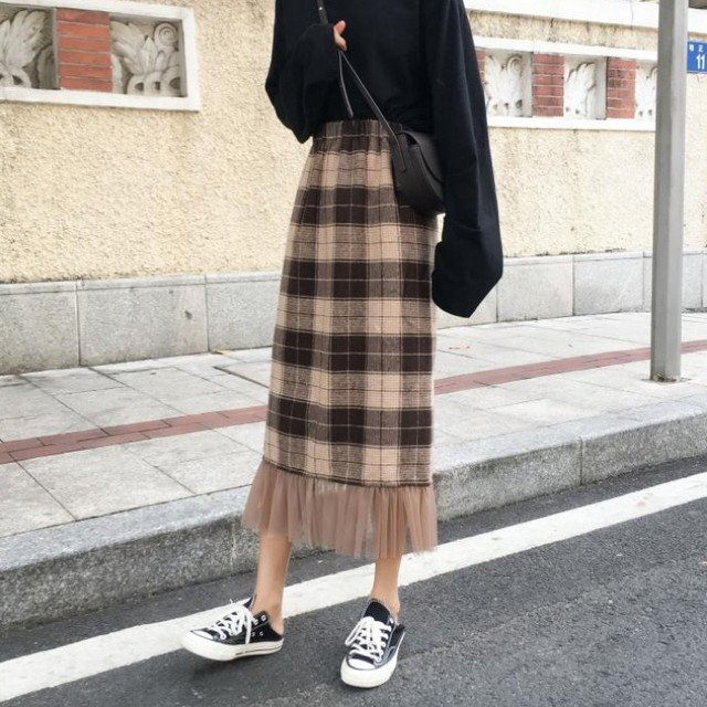 【ボトムス】ファッションチェック柄チェック柄ハイウエスト切り替えAラインスカート23162424