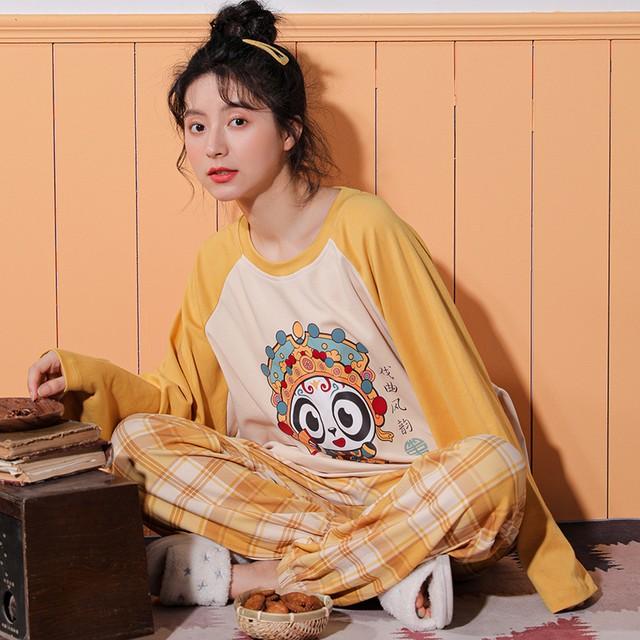 【惜梦妮シリーズ】チャイナ風パジャマ セットアップ 部屋着 コットン M L LL 3L カートゥーン イエロー