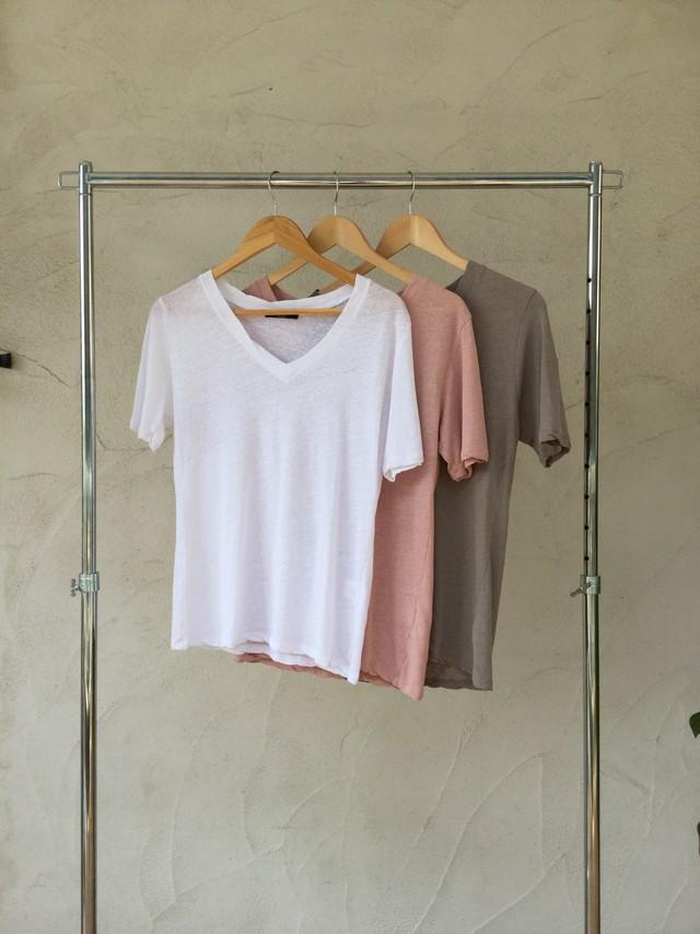 Linen V Tee《WHT/PNK/GRG》20383021