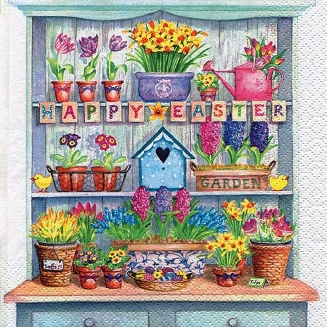 【ti-flair】バラ売り2枚 ランチサイズ ペーパーナプキン Happy Easter Cupboard マルチカラー