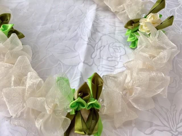 ハワイアンリボンレイ(レシピなし)【ウェディング フラワー ドレス プレイス カード ホルダー / フラワー ボール チャーム】キット