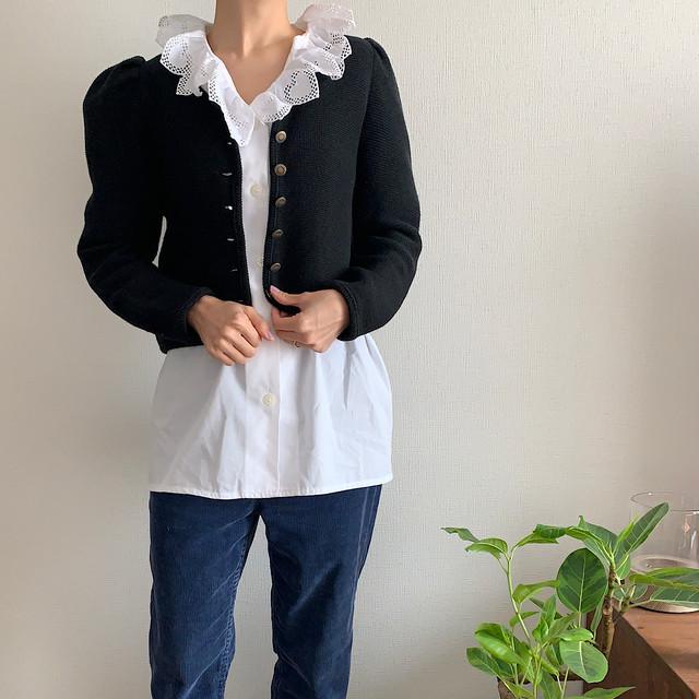 【送料無料】80's-90's vintage black cotton long sleeve puffed cardigan