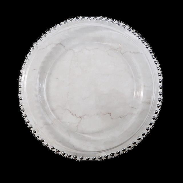 Silver dot plate/ シルバードットガラスプレート 26.5cm