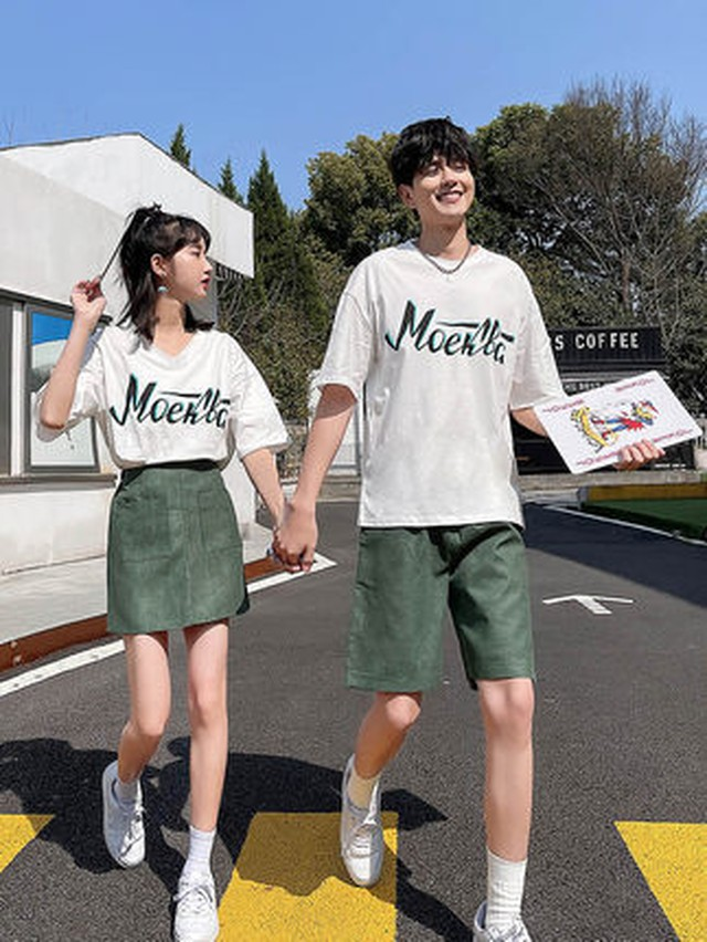 Vネック オーバーサイズ Tシャツ スカート 0947 メンズTシャツ カップル ペアルック リンクコーデ カジュアル お揃い