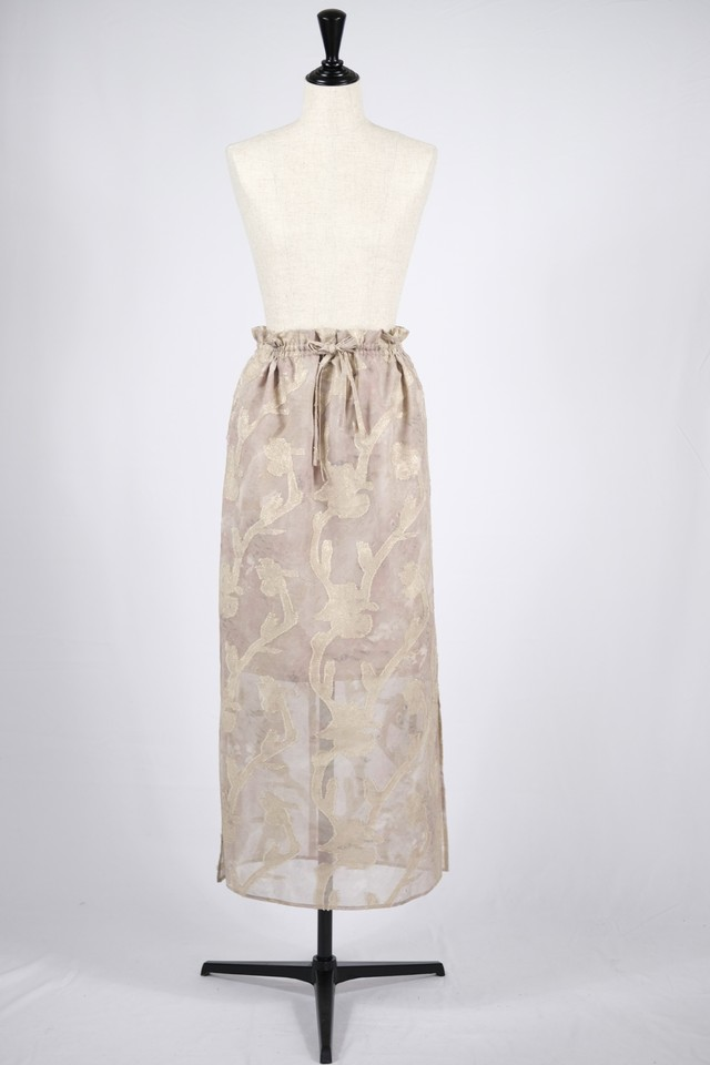 【EBONY】iris cut jacquard skirt - beige