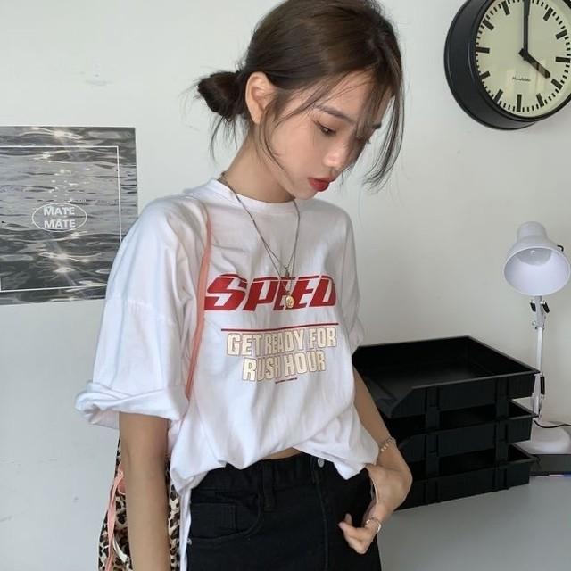 オーバーサイズシンプルレタープリントTシャツ S3711
