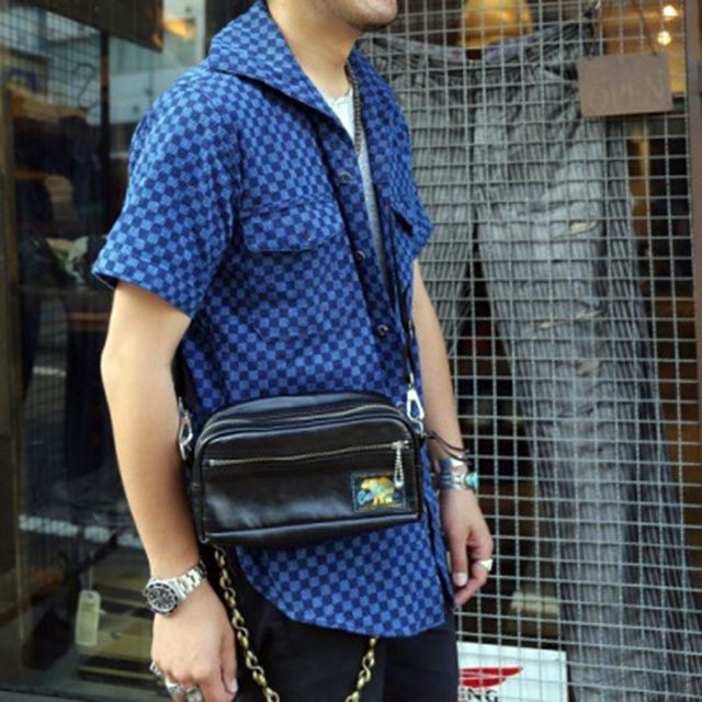 Rainbow Country Leather Shoulder Pouch ホースハイド BLACK [RCL-60017H]