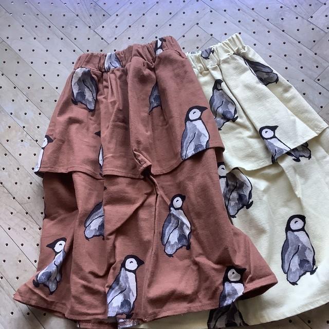 【100㎝相当のみ】ぺプラムペンギンスカート ブラウン