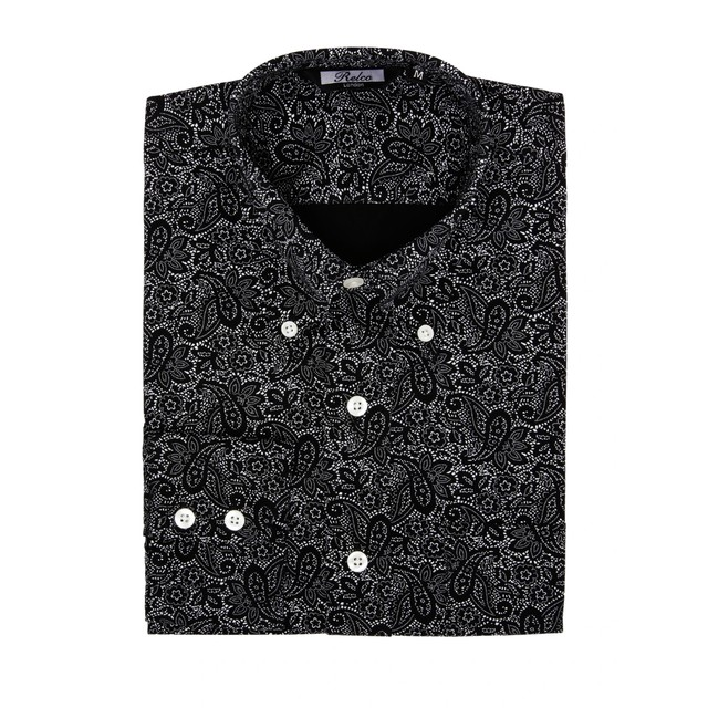 Relco London | Button Down Paisley Shirt - Black