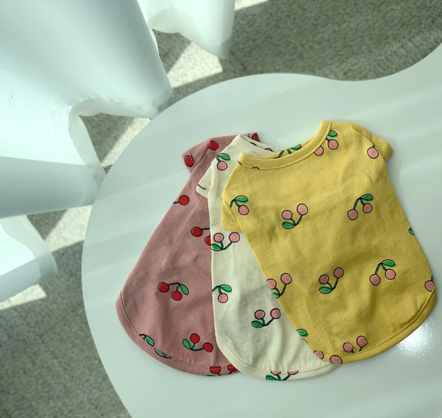 cherry cherry t-shirt XS ~ XL 3color  /  犬服 春夏 新作 ドッグウェア シンプル 犬 服 トップス 小型犬 中型犬 ワンコ服
