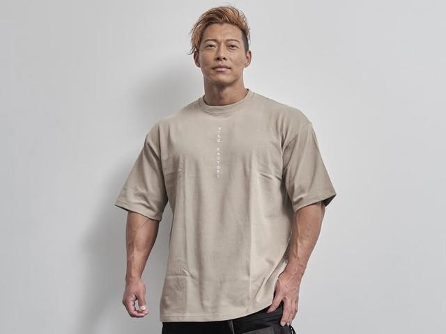 vertical  logo  big  T-shirt(ACID KHAKI)