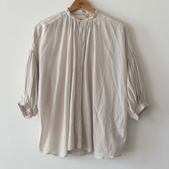 suzuki takayuki スズキタカユキ puff-sleeve blouse ice grey S201-15