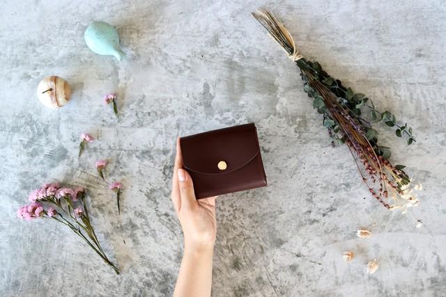 イングラサット_ダークブラウン◆外装◆こども財布◆三つ折り