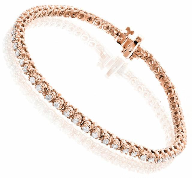 ROUND DIAMOND TENNIS BRACELET 10K ROSE GOLD 1.5CT