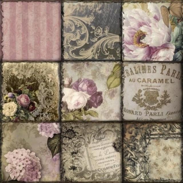 【ti-flair】バラ売り2枚 ランチサイズ ペーパーナプキン Vintage Collage Paris アンティークピンク