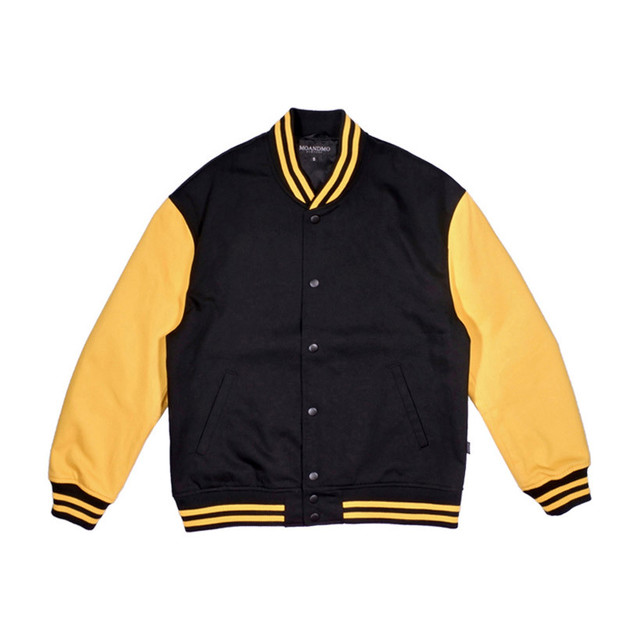 MOANDMO Cotton Twill Stadium Jacket / Black&Yellow
