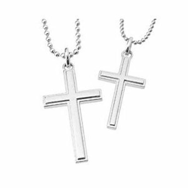 ペアネックレス シンプル シルバー カップル マットライン クロス 十字架 with me