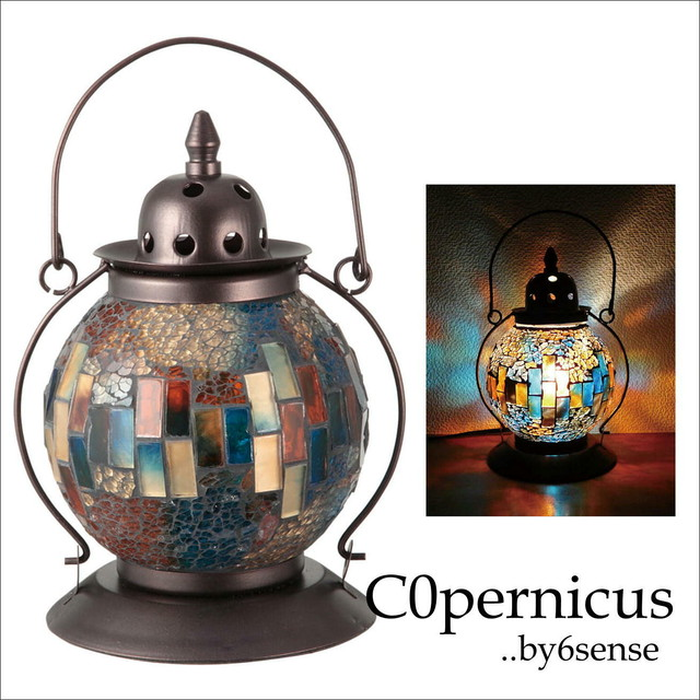 モザイクランプ  ランタン型 Blueクリムト風ランプ  浜松雑貨屋C0pernicus
