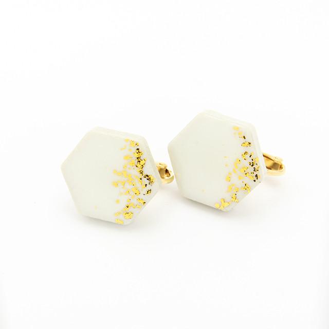 伝統工芸品 美濃焼 六角形 星屑のイヤリング&ピアス