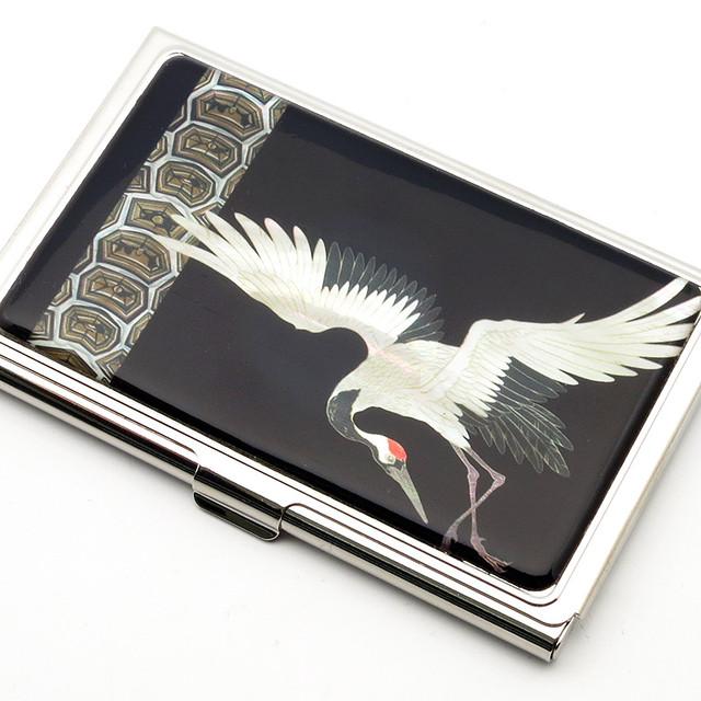 天然貝 名刺カードケース(一羽鶴)<螺鈿アート>